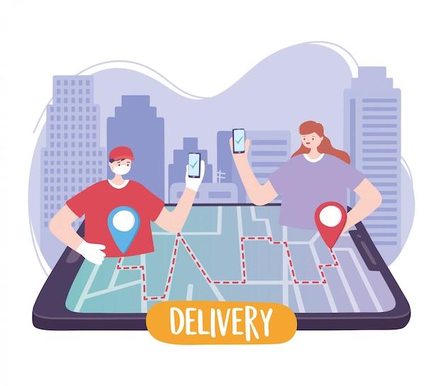 Pandemia de coronavírus, serviço de entrega, entregador e cliente com rastreamento de pedidos por smartphone no mapa
