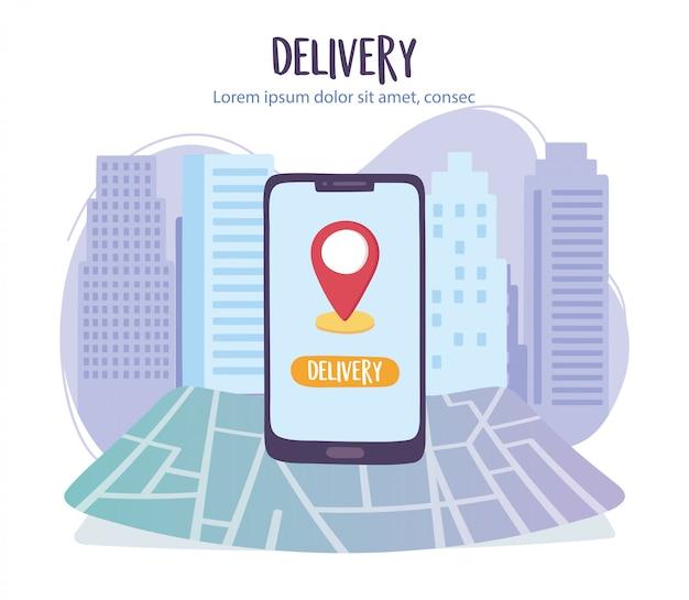 Pandemia de coronavírus, serviço de entrega, localização do ponteiro de navegação para smartphone