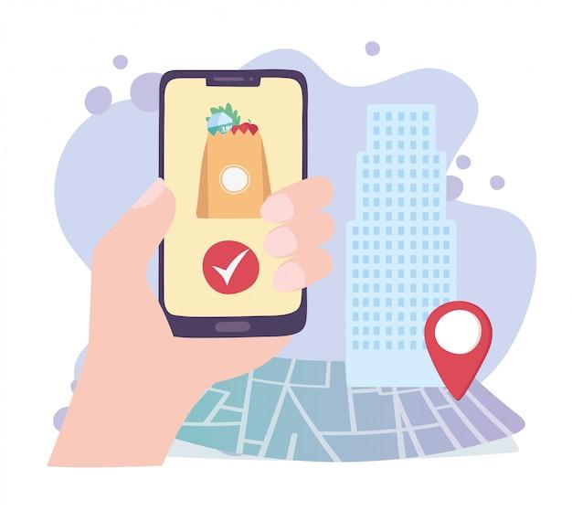 Pandemia de coronavírus, serviço de entrega, mão com ponteiro de mapa on-line de smartphone