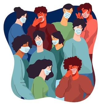 Pandemia e pessoas em um conceito de multidão
