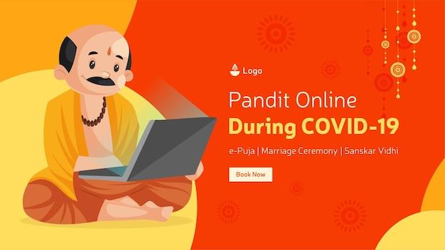 Pandit online durante o design do banner covid19
