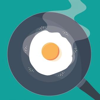 Panela de cozinha com ovo frito