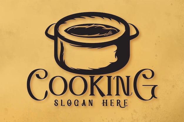 Panela de cozinha, logotipo de culinária vintage