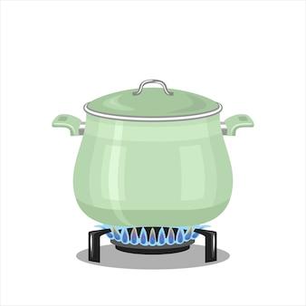 Panela no fogão a gás.