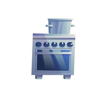 Panela plana dos desenhos animados de vetor no fogão com forno isolado no fundo vazio - móveis modernos para casa, conceito de elementos interiores de aparelhos de cozinha, design de banner de site da web