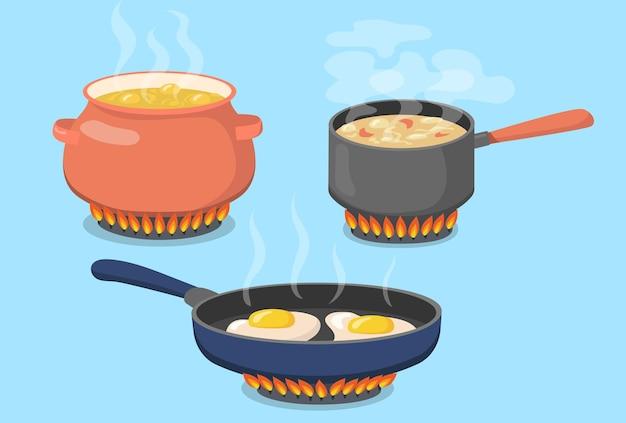 Panela quente, panela e frigideira no fogão a gás plano