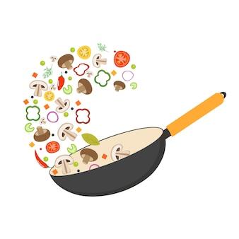 Panela wok, tomate, pimentão, pimenta, cogumelo shiitake e cenoura. comida asiática. legumes frescos voadores.
