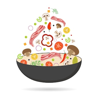 Panela wok, tomate, pimentão, pimenta, cogumelos e bacon. comida asiática. vegetais voadores com bacon de porco.