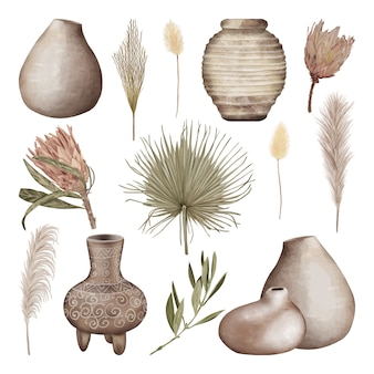 Panelas e vasos de barro boho com folhas e flores tropicais