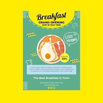 Panfleto a5 de restaurante de café da manhã