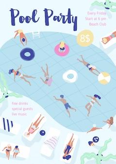 Panfleto, cartaz, modelo de convite de festa com pessoas vestidas em trajes de banho, nadar e mergulhar na piscina, deitado nas espreguiçadeiras e banhos de sol.