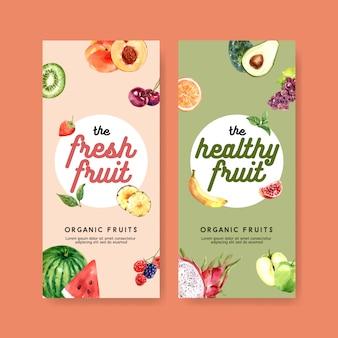 Panfleto com tema de frutas em cor pastel, melancia e kiwi para várias obras de arte.