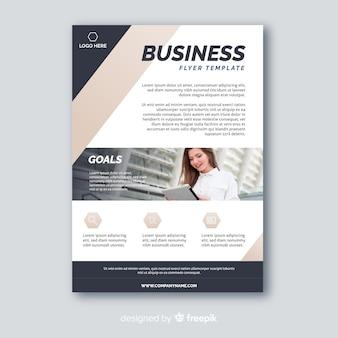 Panfleto comercial abstrato com modelo de foto