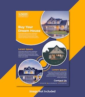 Panfleto comercial com design moderno para agência imobiliária