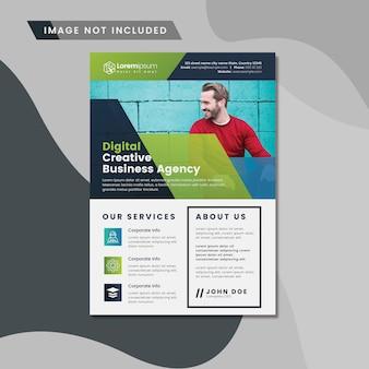 Panfleto comercial com detalhes abstratos verdes