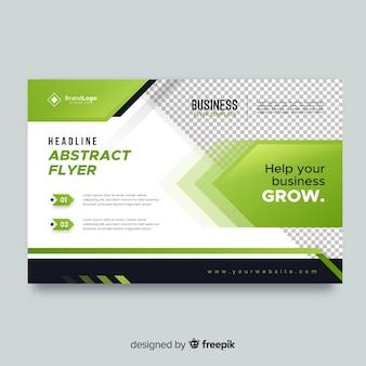 Panfleto comercial com elementos verdes