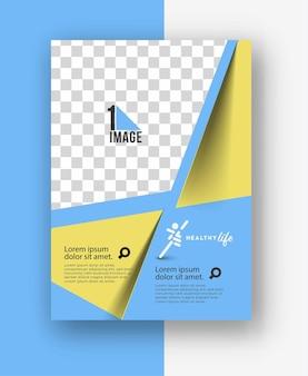 Panfleto comercial com espaço de imagem e logotipo.
