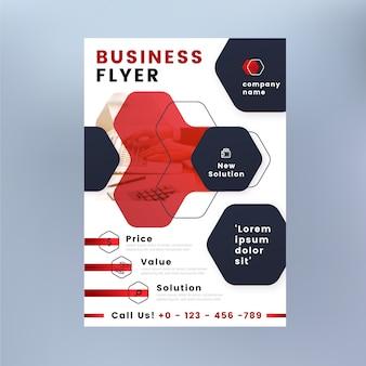 Panfleto comercial com formas e foto