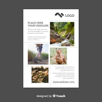 Panfleto comercial com fotos de mosaico