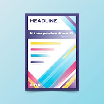 Panfleto comercial com título e formas coloridas