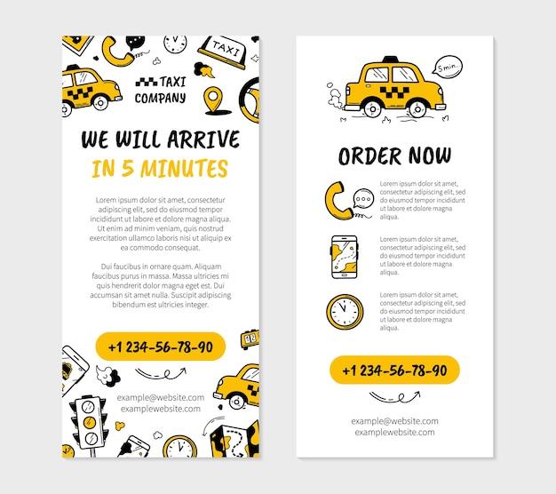 Panfleto comercial de táxi em estilo doodle