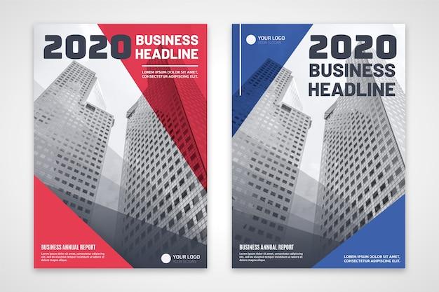 Panfleto comercial de vermelho e azul com edifícios