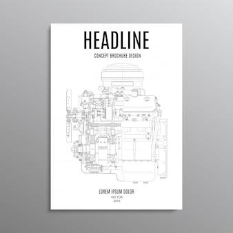 Panfleto comercial, modelo ou folheto de projeto de layout em tamanho a4 com motor em segundo plano.