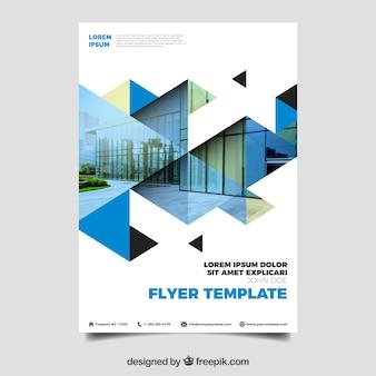 Panfleto comercial moderno com mosaico de foto