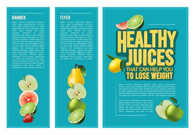 Panfleto comercial ou banner com frutas