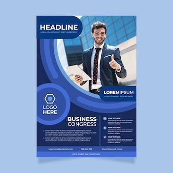 Panfleto corporativo com foto