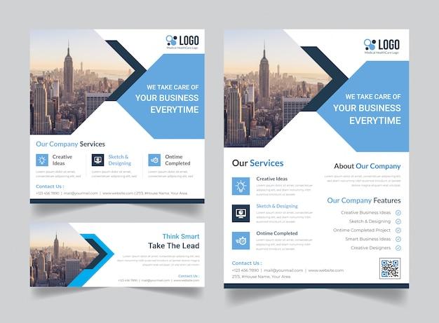 Panfleto corporativo, post de mídia social, pacote de modelo de capa de banner