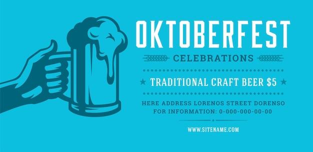 Panfleto da oktoberfest ou banner retro tipografia vector modelo design willkommen zum convite celebração do festival de cerveja.