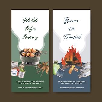 Panfleto de acampamento com conservas e grelha ilustrações fogão.