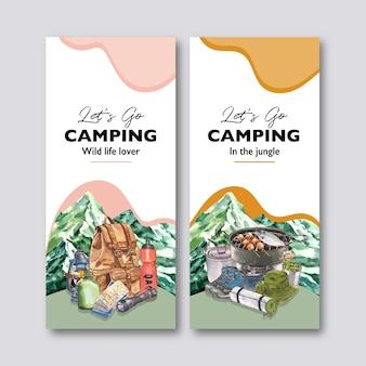 Panfleto de acampamento com ilustrações de mochila, lanterna, pote de acampamento e balão