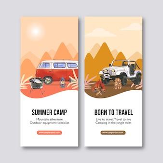 Panfleto de acampamento com tenda, fogão de grelha e ilustrações de barco inflável.