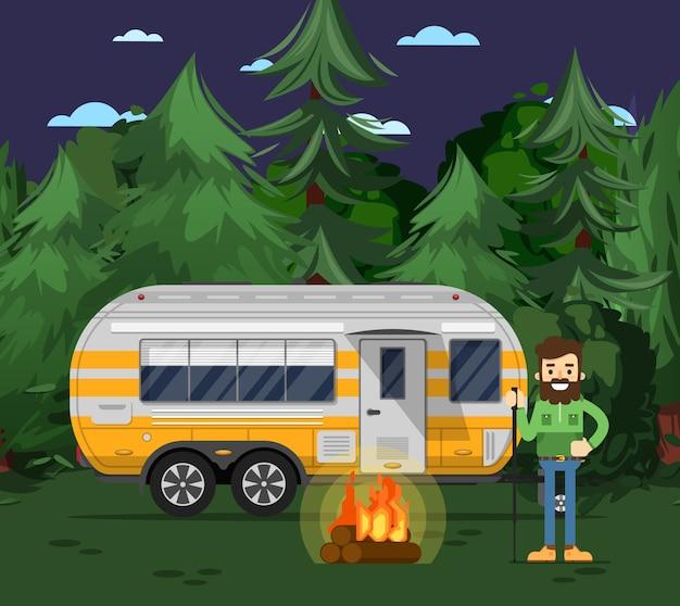 Panfleto de acampamento turístico com reboque de viagem