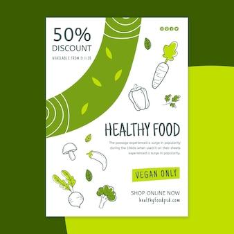 Panfleto de alimentos bio e saudáveis vertical