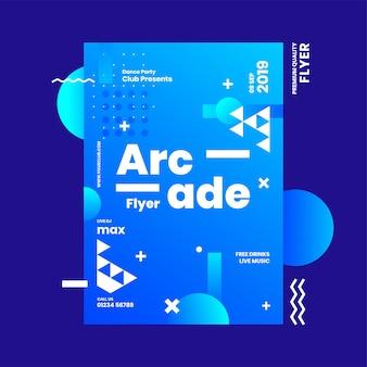 Panfleto de arcade ou modelo de design de publicidade com elemento abstrato sobre fundo azul.