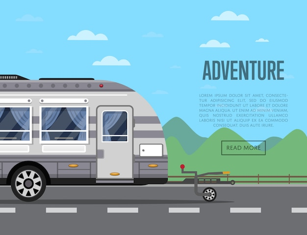 Panfleto de aventura de estrada com reboque de acampamento