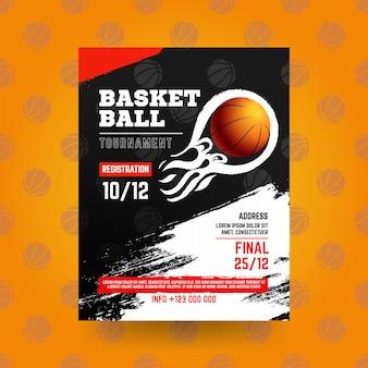 Panfleto de basquete com estilo grunge