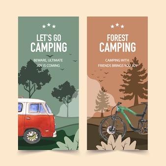 Panfleto de campismo com ilustrações de árvore, bicicleta, van e floresta.