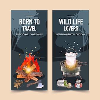Panfleto de campismo com ilustrações de fogão, panela de acampamento e fogueira.