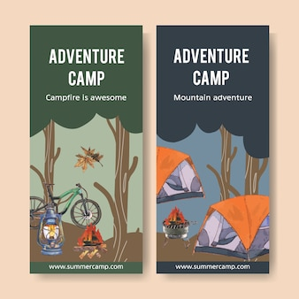 Panfleto de campismo com ilustrações de fogueira, bicicleta, tenda e lanterna.