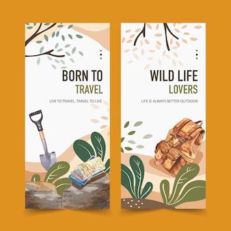 Panfleto de campismo com pá, mapa de trilha, mochila e árvore de ilustrações.