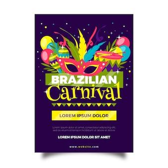 Panfleto de carnaval brasileiro de design plano com maracas