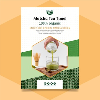 Panfleto de chá matcha
