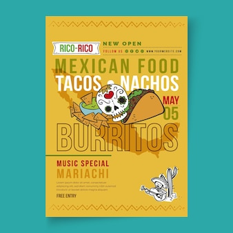 Panfleto de comida mexicana vertical