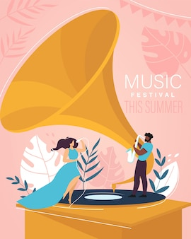 Panfleto de convite de desenho animado de festival de verão de música
