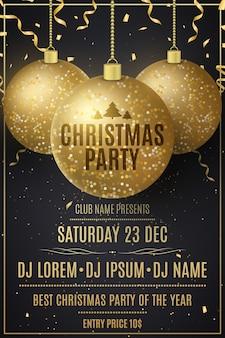 Panfleto de convite de festa de natal decorado com brilhantes bolas douradas penduradas e confetes caindo.