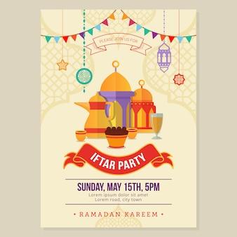 Panfleto de design do ramadã partido iftar